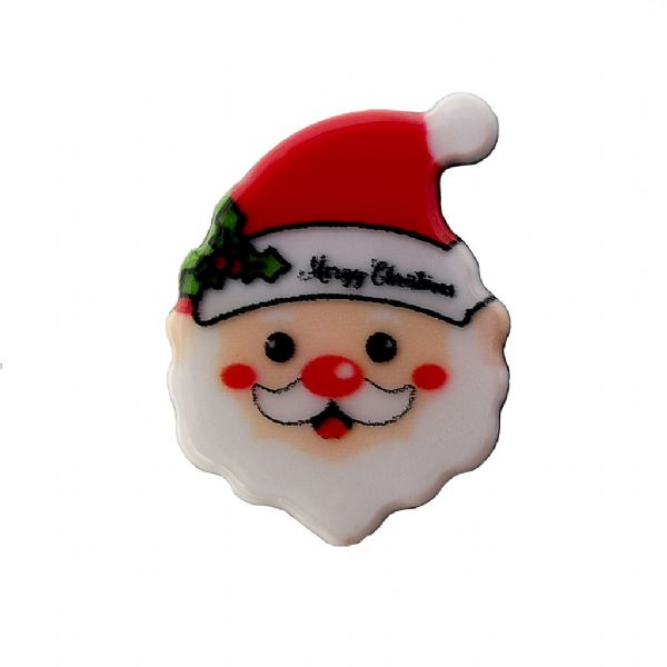 Santa Head  Acrylic Flat Back Christmas Charm 11mm x 14mm